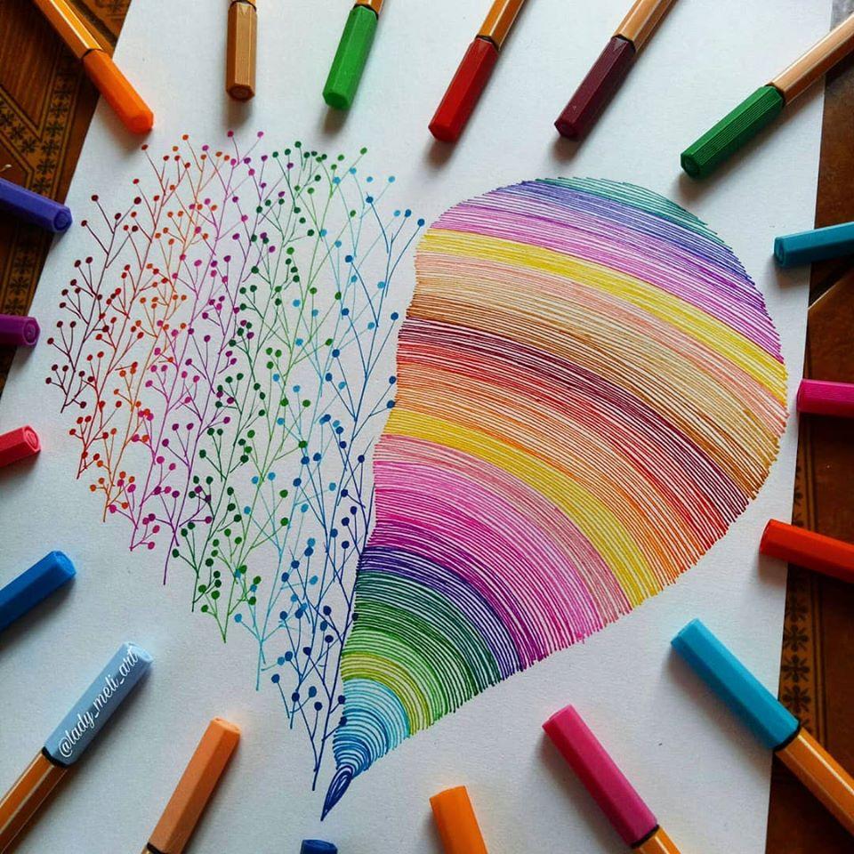 3 doodle art dot heart lady meli art