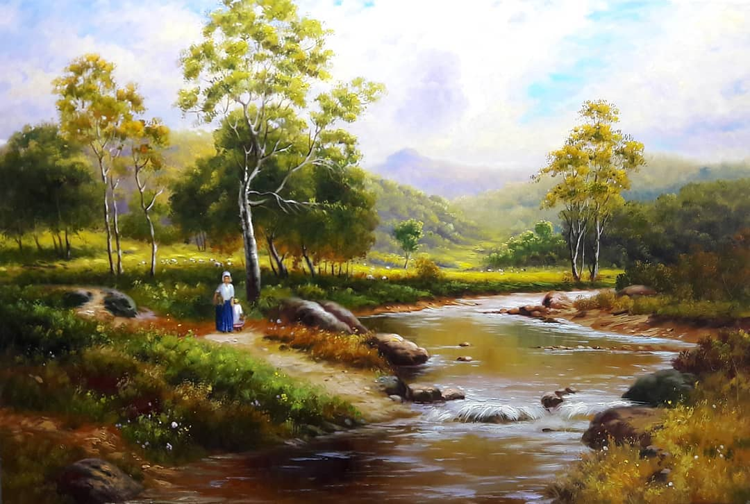 landscape painting river walk mahmood jafari