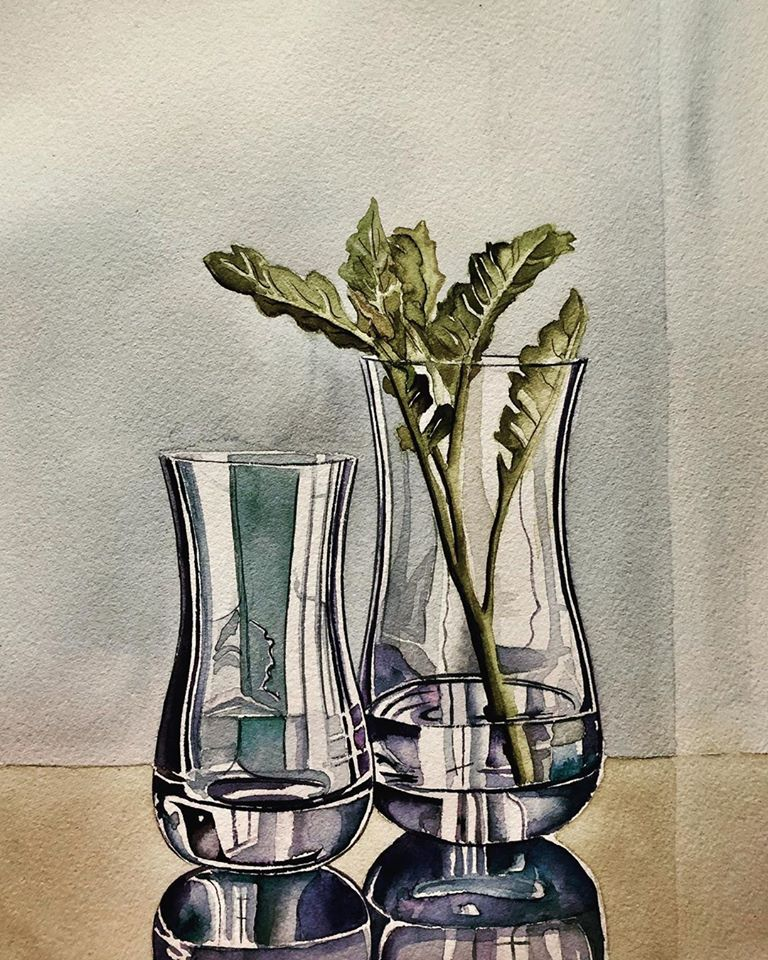 3 still life watercolor painting glass serpil umit