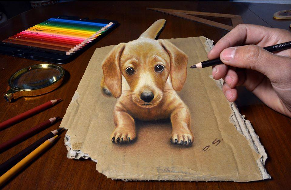 4 3d paintings dog stefan pabst