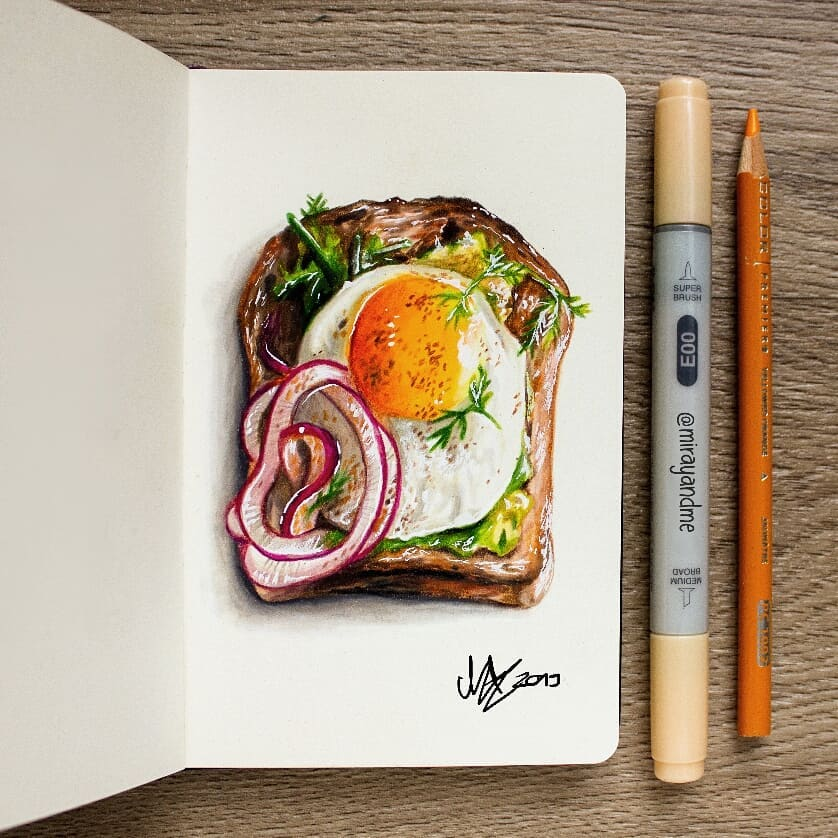 color pencil drawing sandwich miray