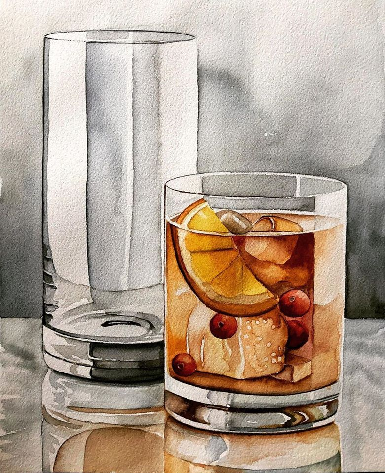 still life watercolor painting glass juice serpil umit