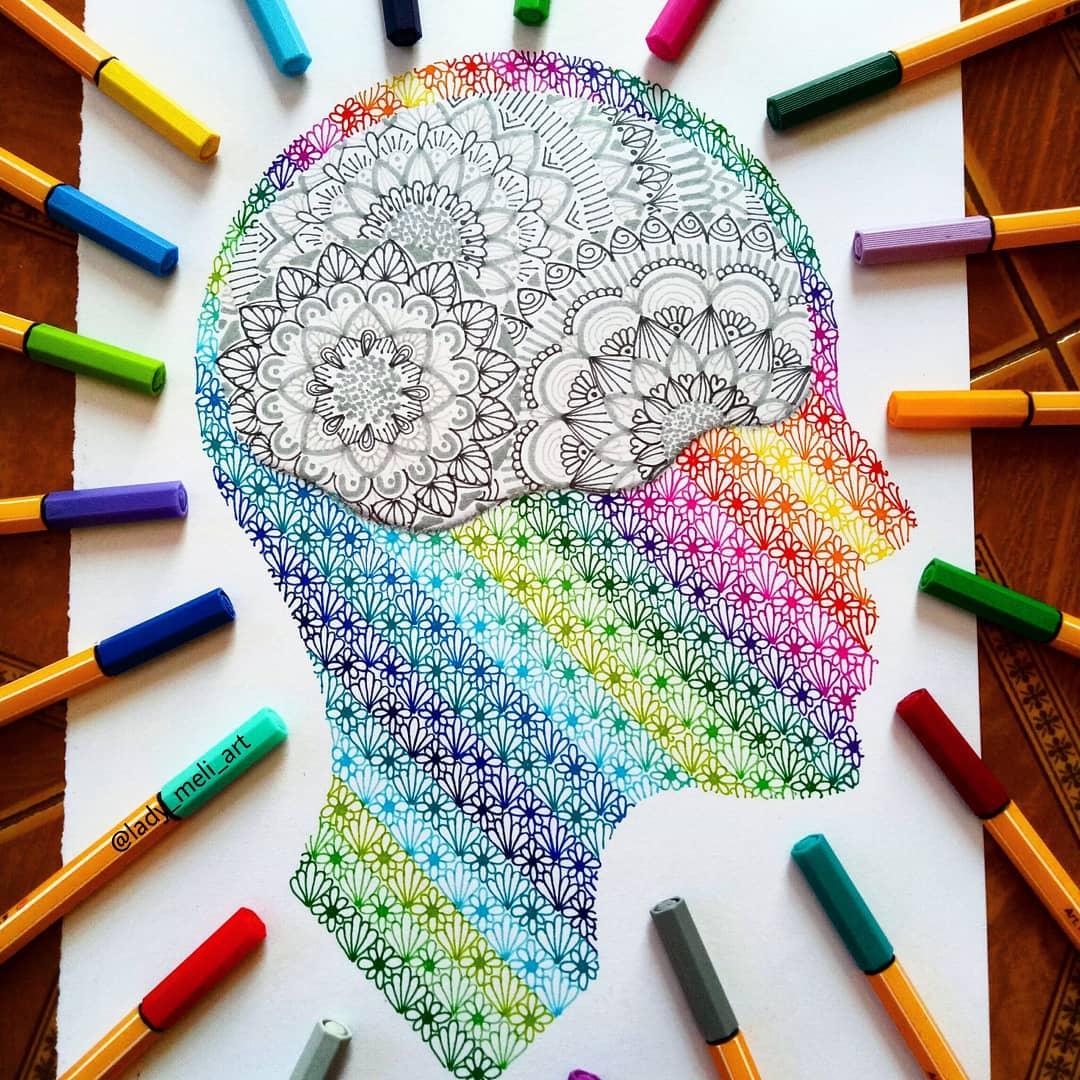 5 doodle art head lady meli art