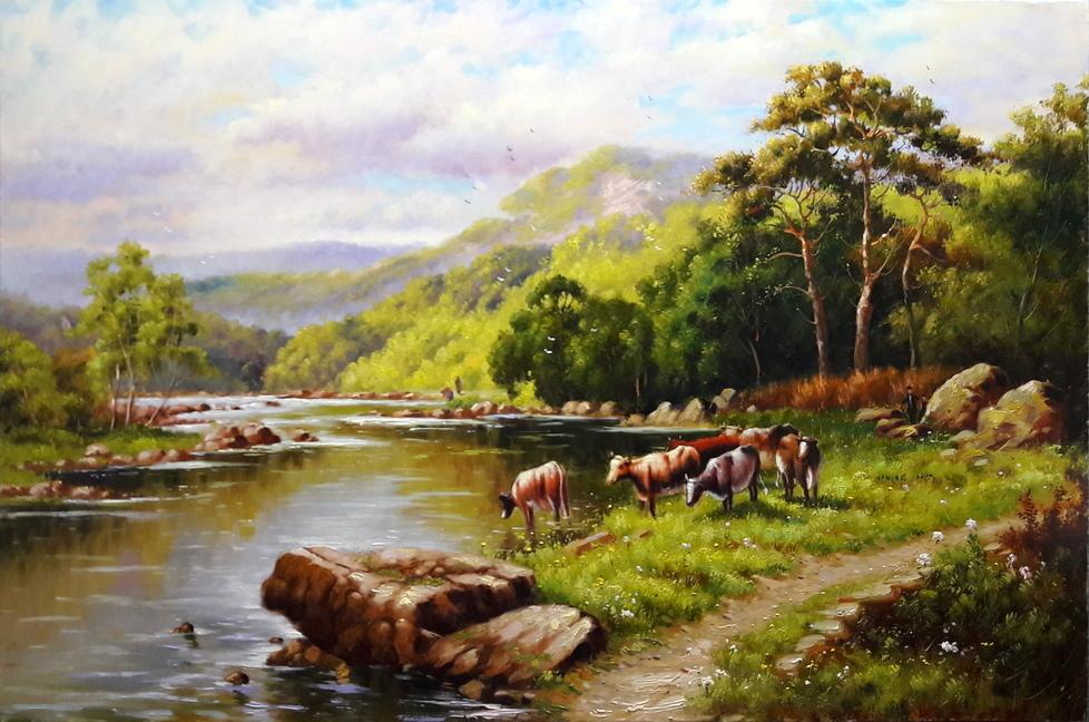 scenery painting cows grazing mahmood jafari