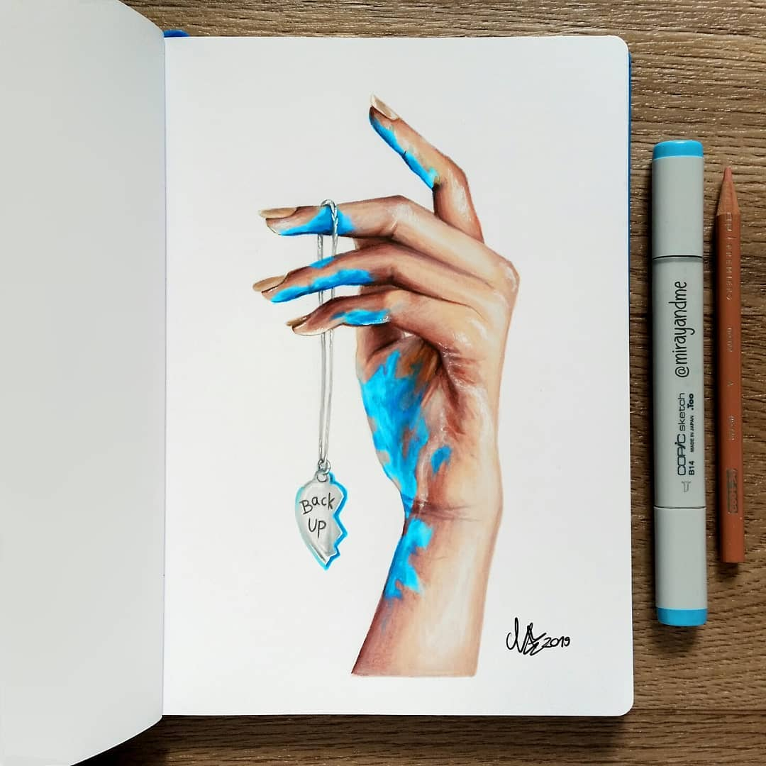 color pencil drawing back miray