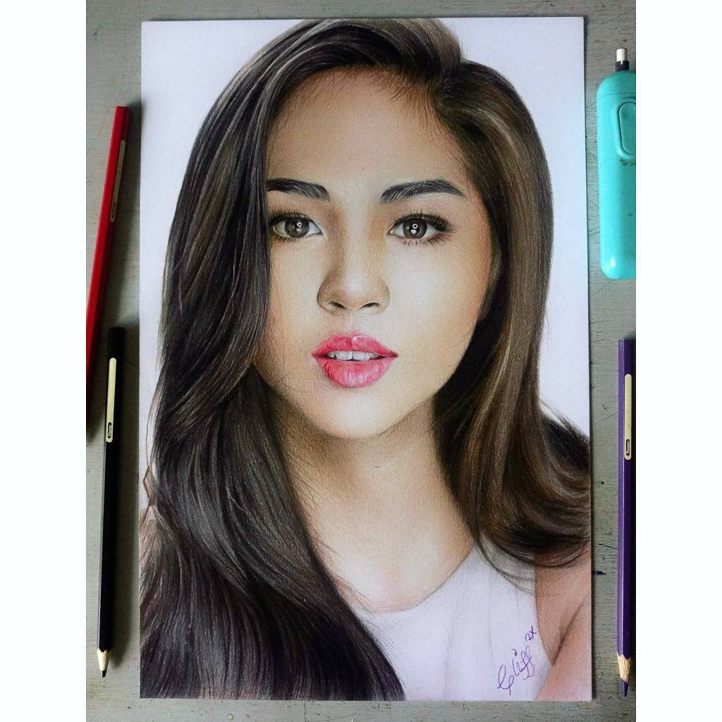 color pencil drawing beautiful girl cliff beron