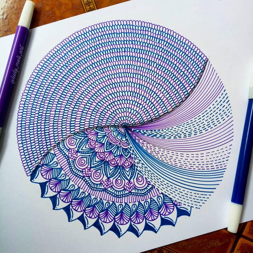 6 doodle art circle lady meli art