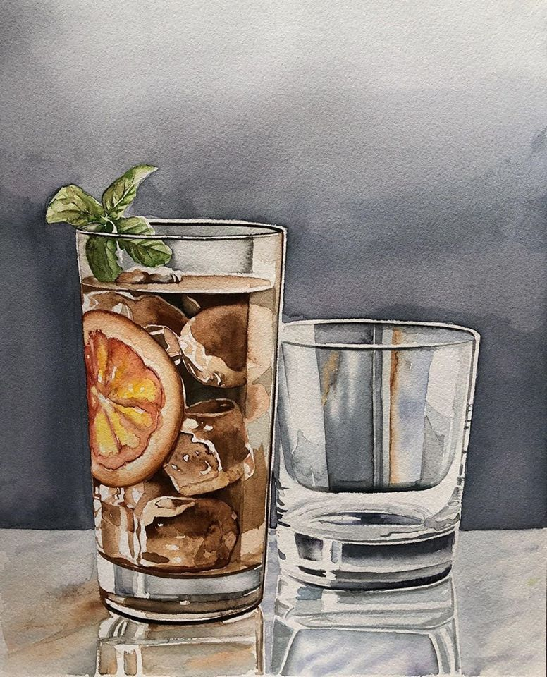 still life watercolor painting juice serpil umit