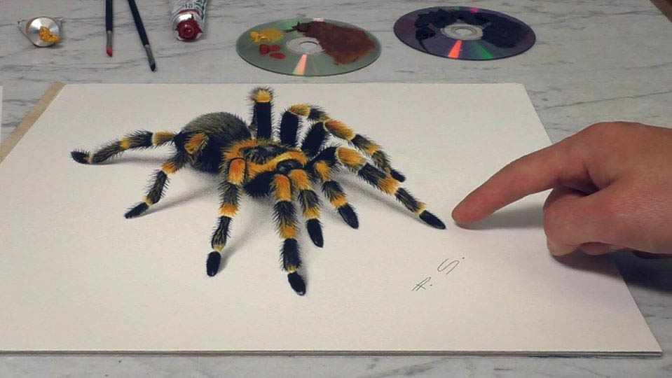 3d paintings tarantula stefan pabst
