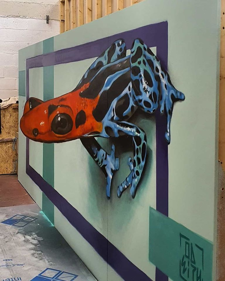 3d wall art mural painting orange frog odeith