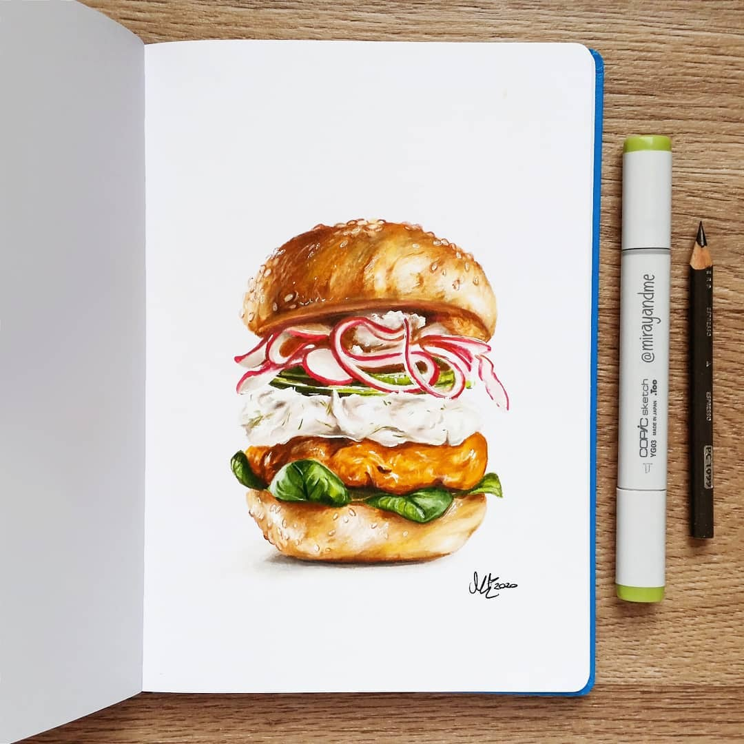 color pencil drawing burger miray
