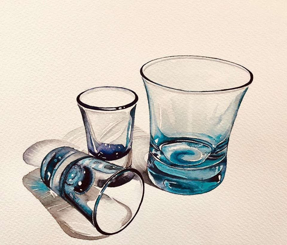 still life watercolor painting glass cup serpil umit