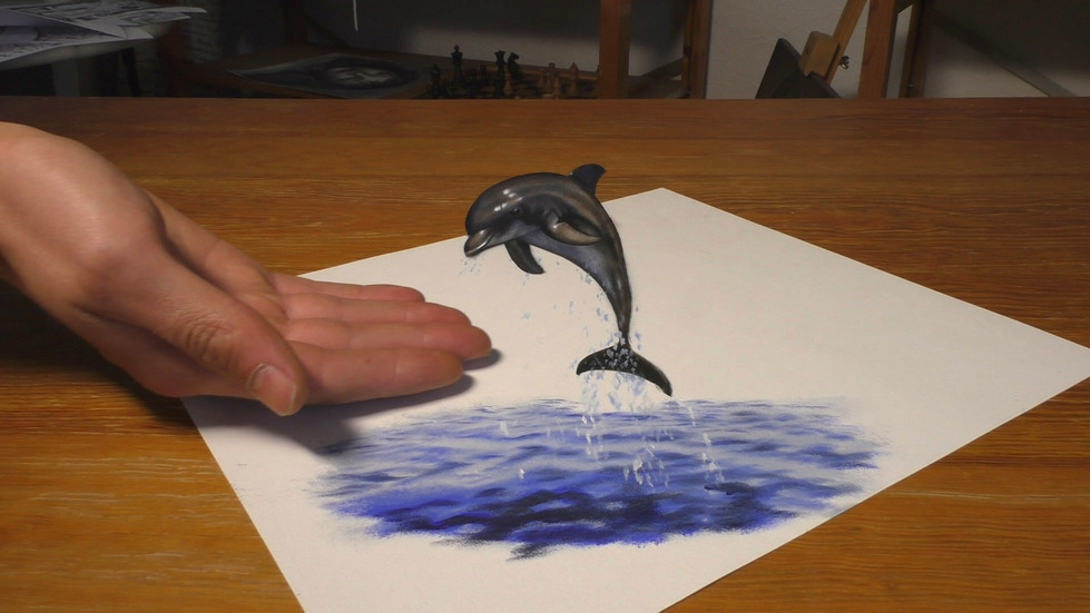 3d paintings dolphin stefan pabst