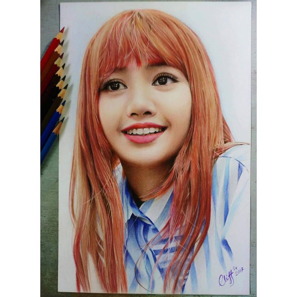 color pencil drawing happy girl cliff beron