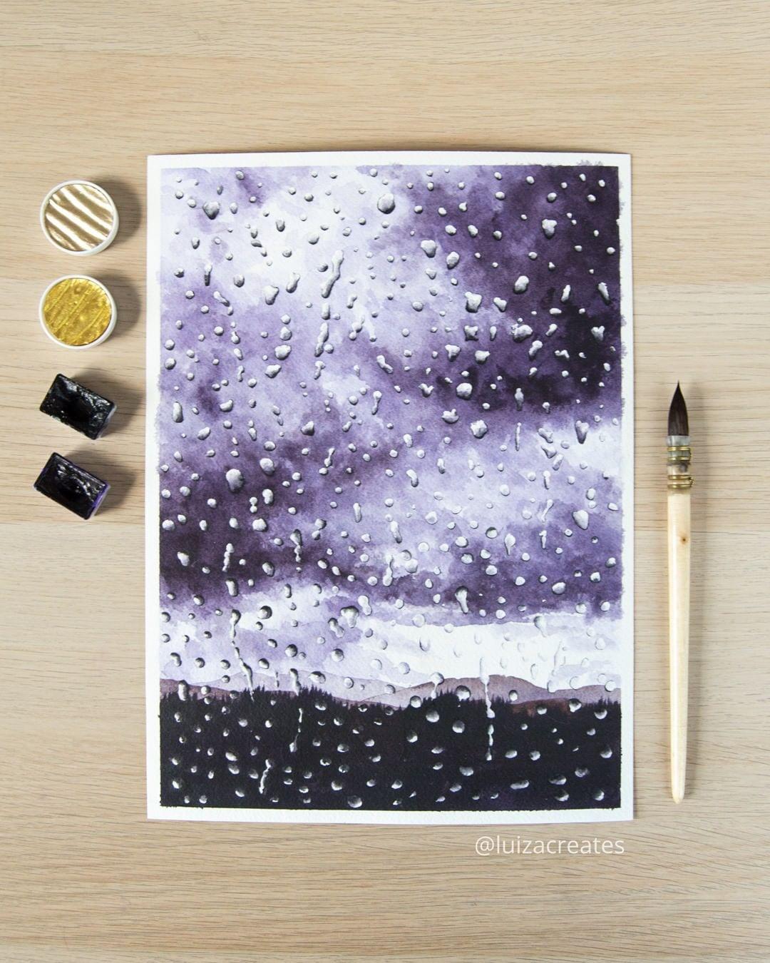 painting rain luiza niechoda