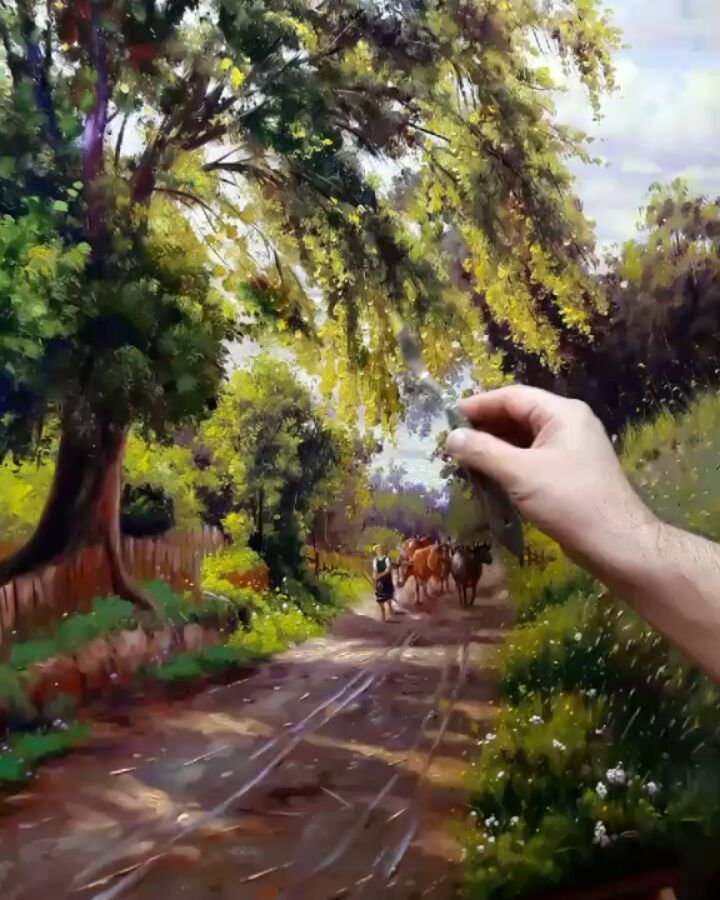 scenery painting jolly walk mahmood jafari