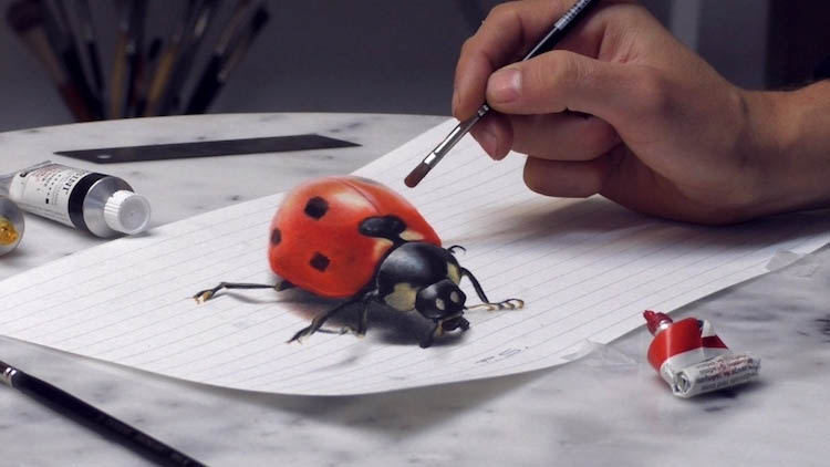 3d paintings ladybird stefan pabst