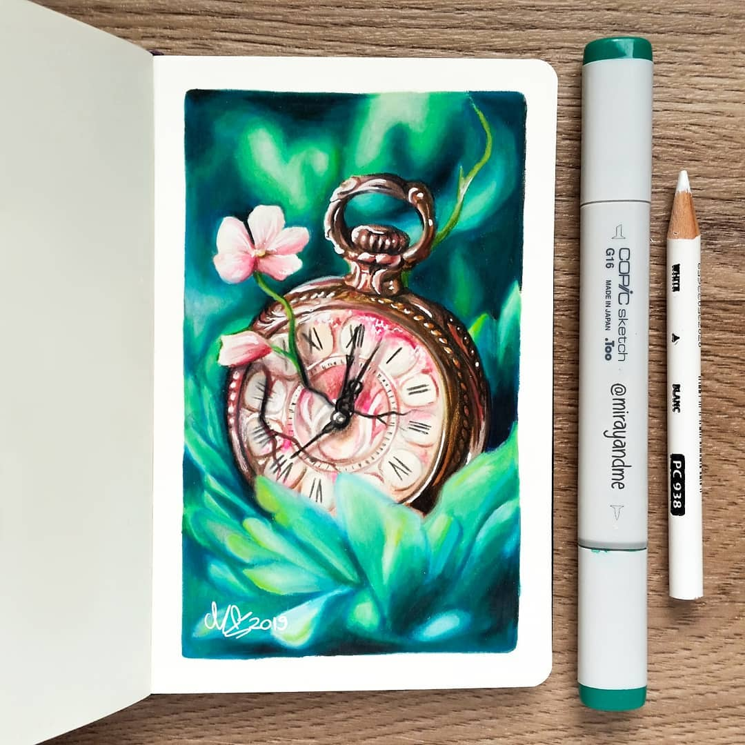 color pencil drawing clock miray