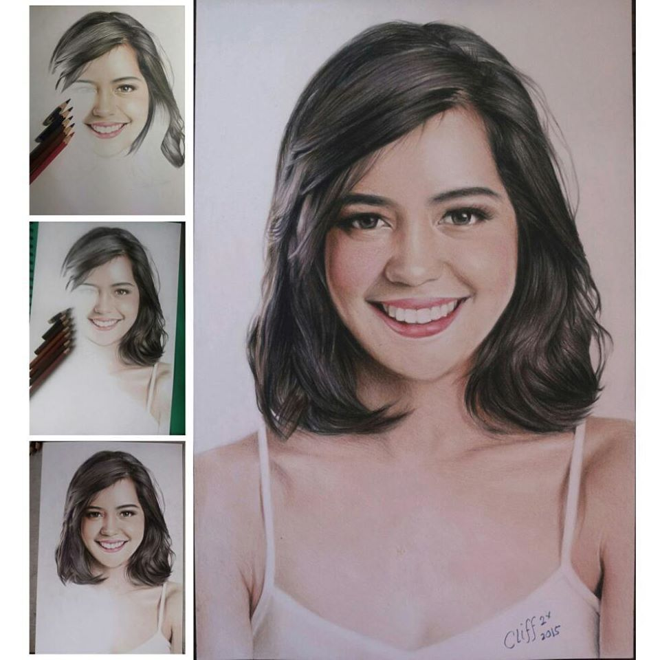 color pencil drawing smiling girl cliff beron