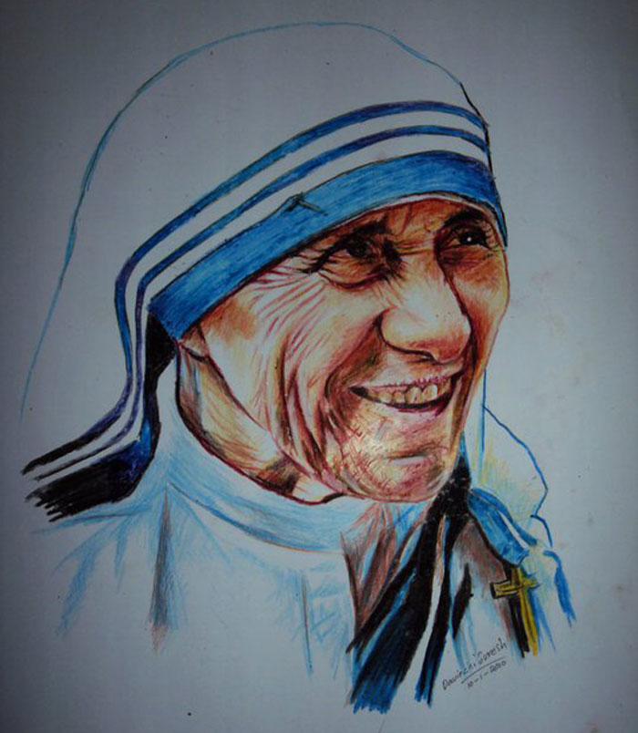 crayon portrait drawing mother teresa by davinchi suresh
