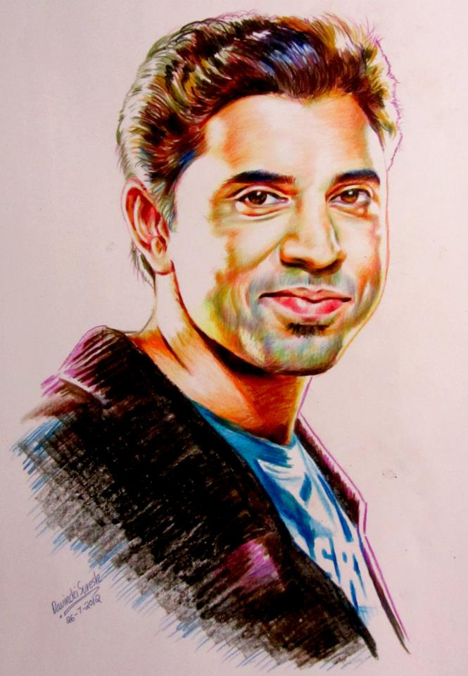 crayon portrait drawing nivin pauly by davinchi suresh