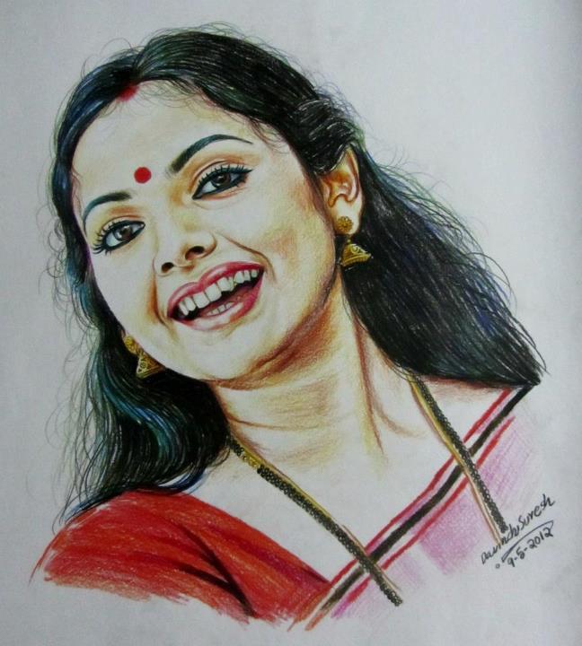 crayon portrait drawing woman by davinchi suresh