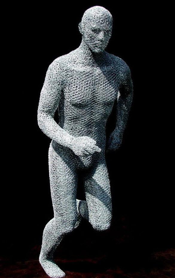 wire sculpture man by derek kinzett