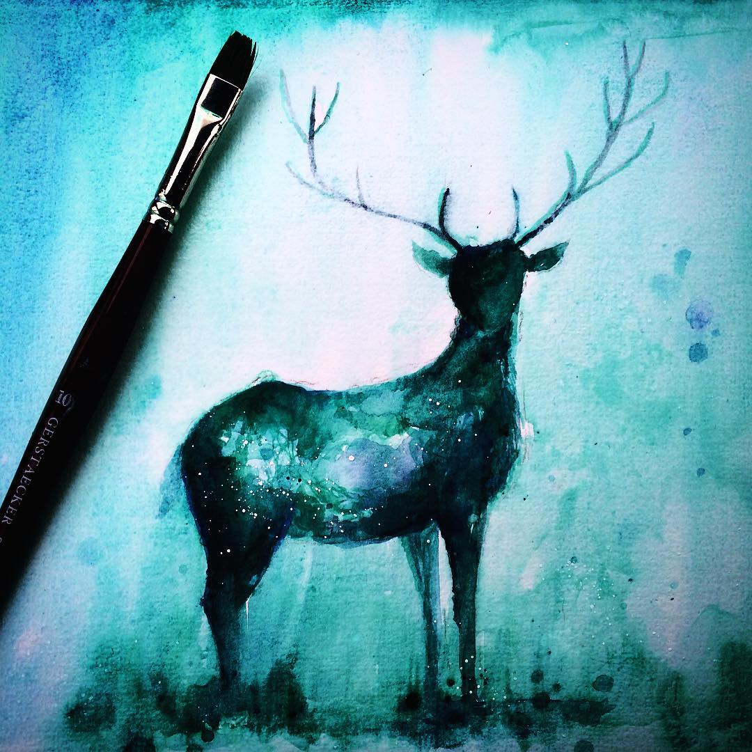 11 deer silhouette paintings by danielle foye