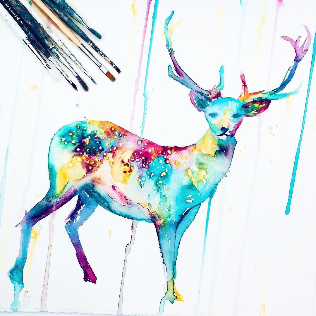 deer silhouette paintings by danielle foye