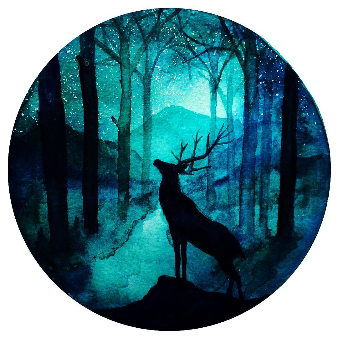 deer silhouette paintings by danielle foye