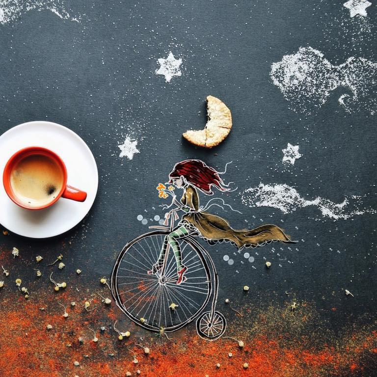 girl bicycle creative drawings by cinzia bolognesi