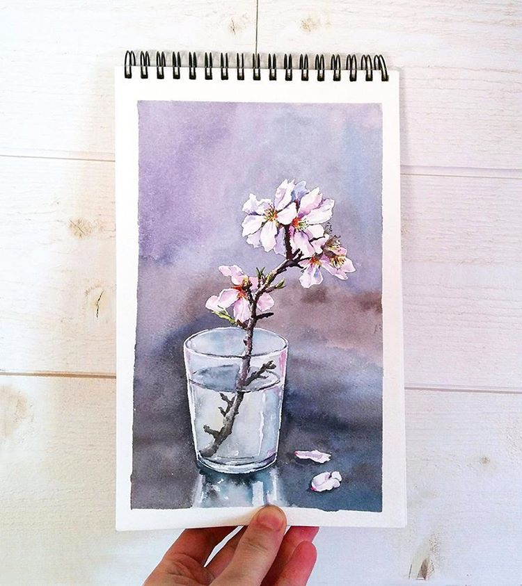 glass flower watercolor paintings by elena efremova