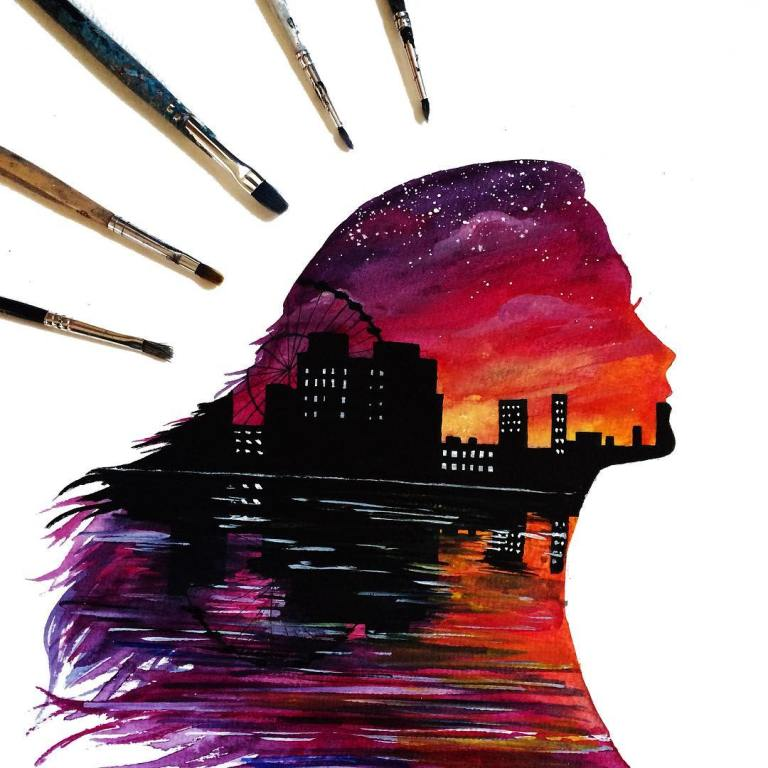 3 woman building silhouette paintings by danielle foye