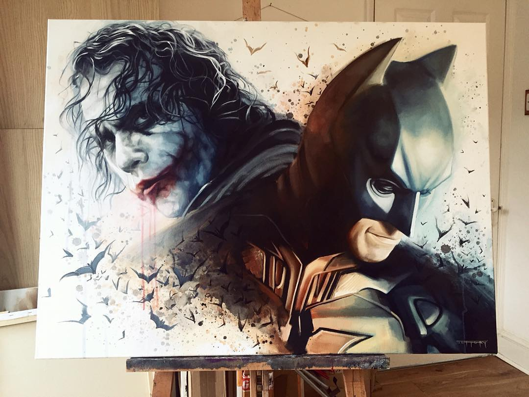 4 joker batman super heros acrylic paintings by ben jeffery