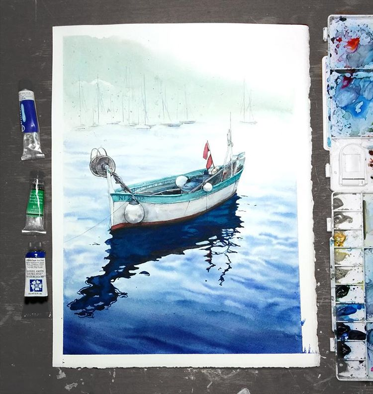 boat watercolor paintings by elena efremova