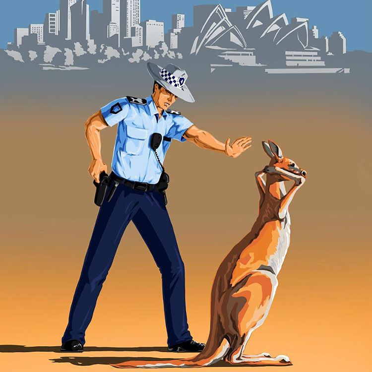 police australia creative digital illustration by gunduz aghayev