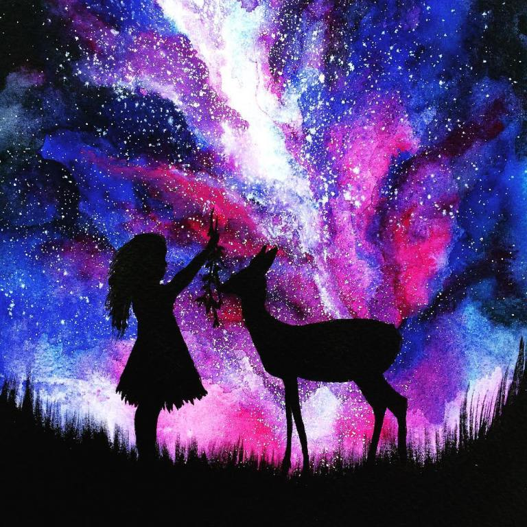 6 child deer silhouette paintings by danielle foye