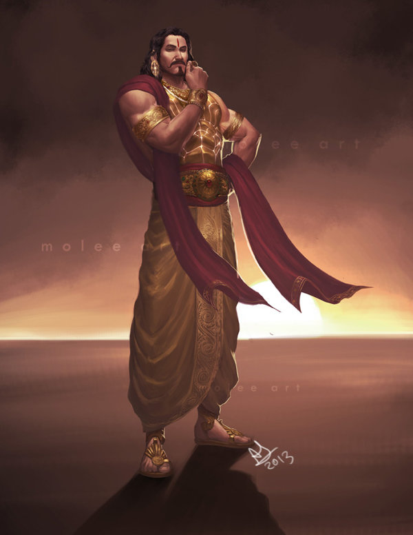 karna hindu gods digital painting by anirudh sainath molee
