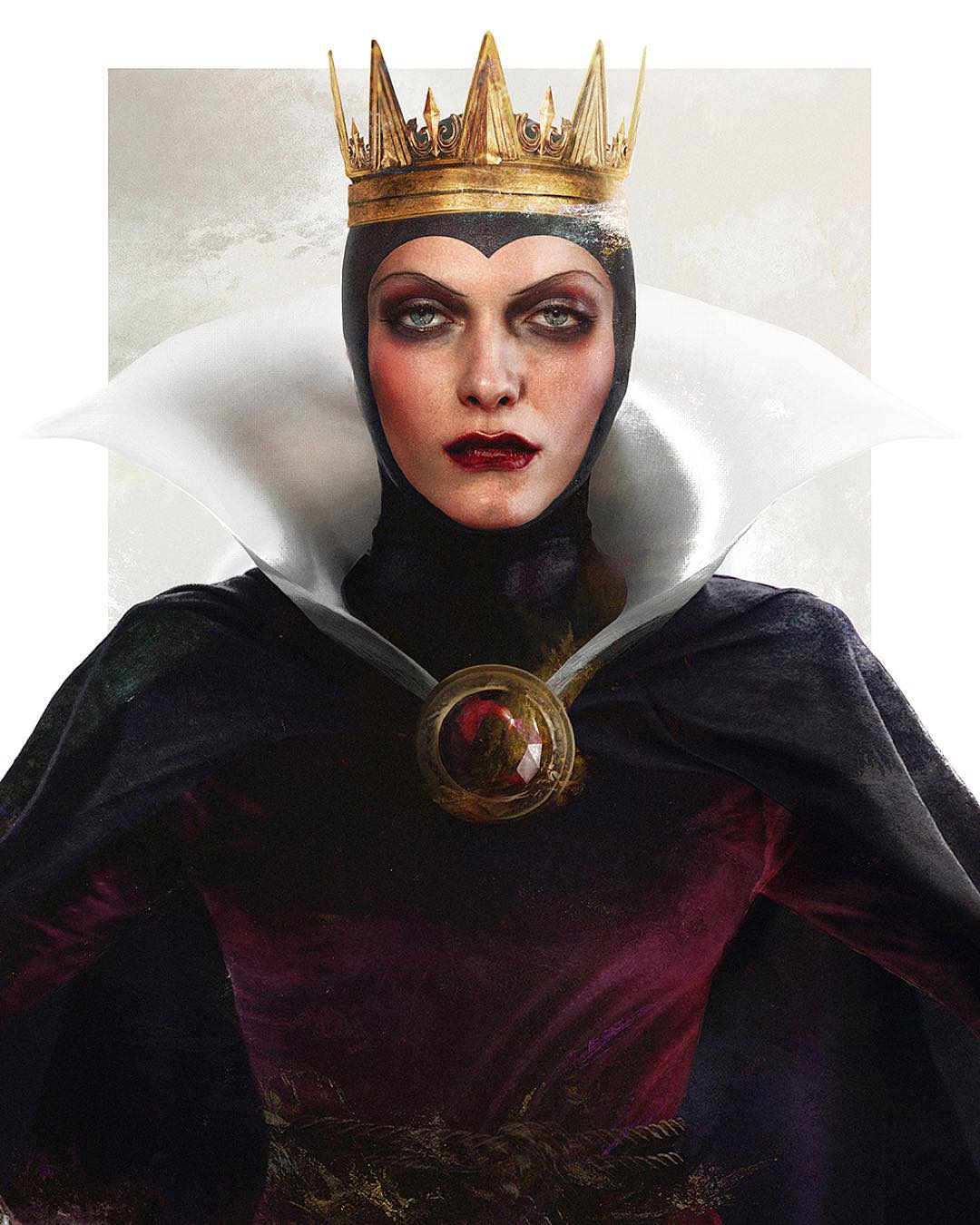 evilqueen disney realistic paintings by jirka vaatainen