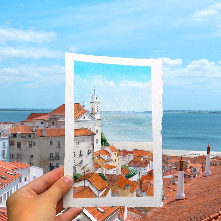 8 house watercolor paintings by elena efremova