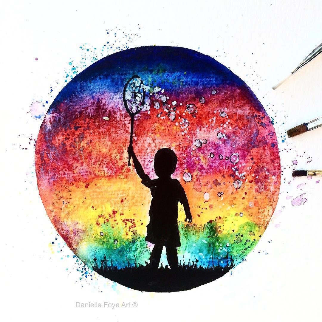 kid silhouette paintings by danielle foye