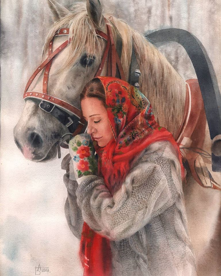 watercolor painting horse woman besedina anastasia