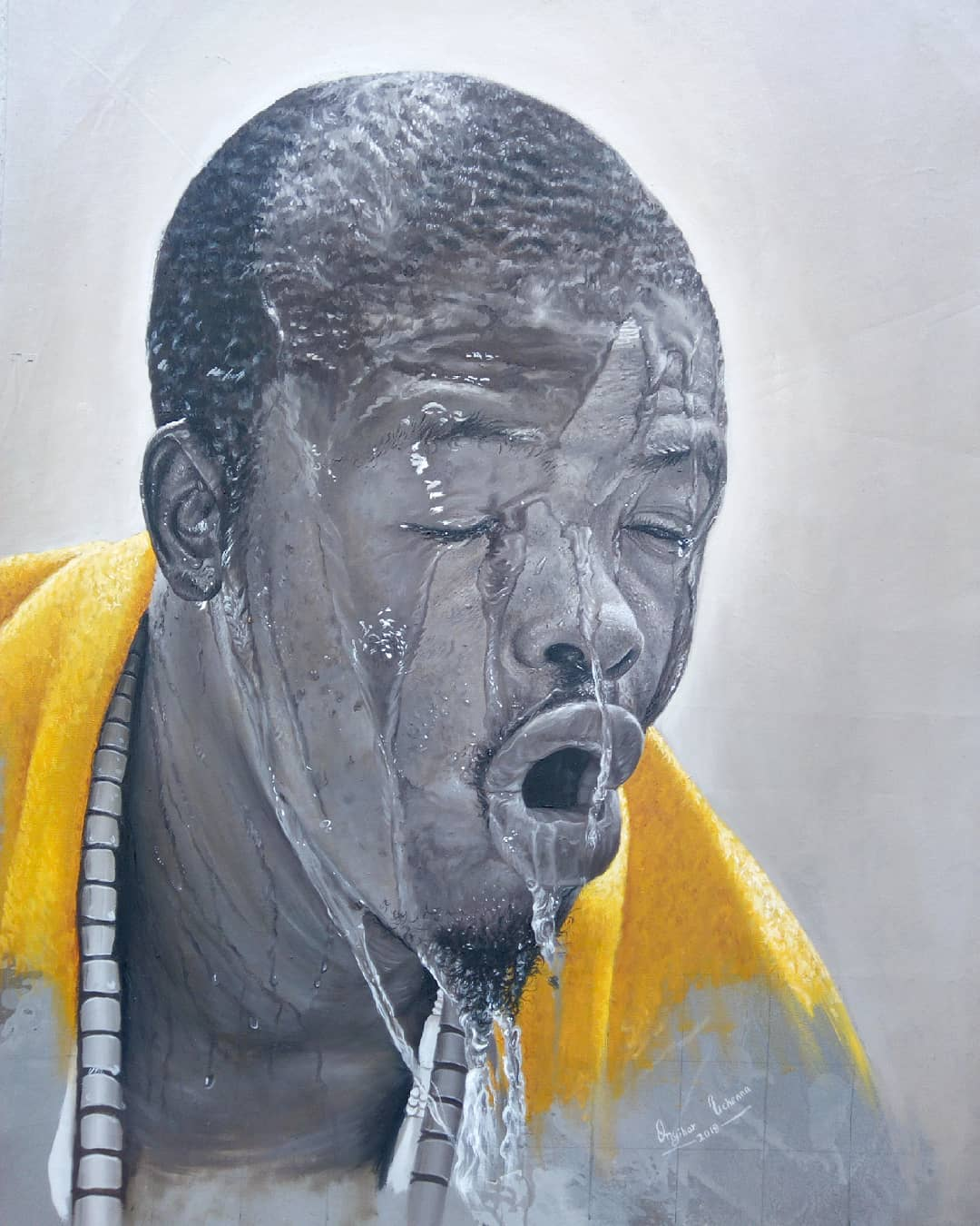 painting portrait sports man collins uchenna onyibor