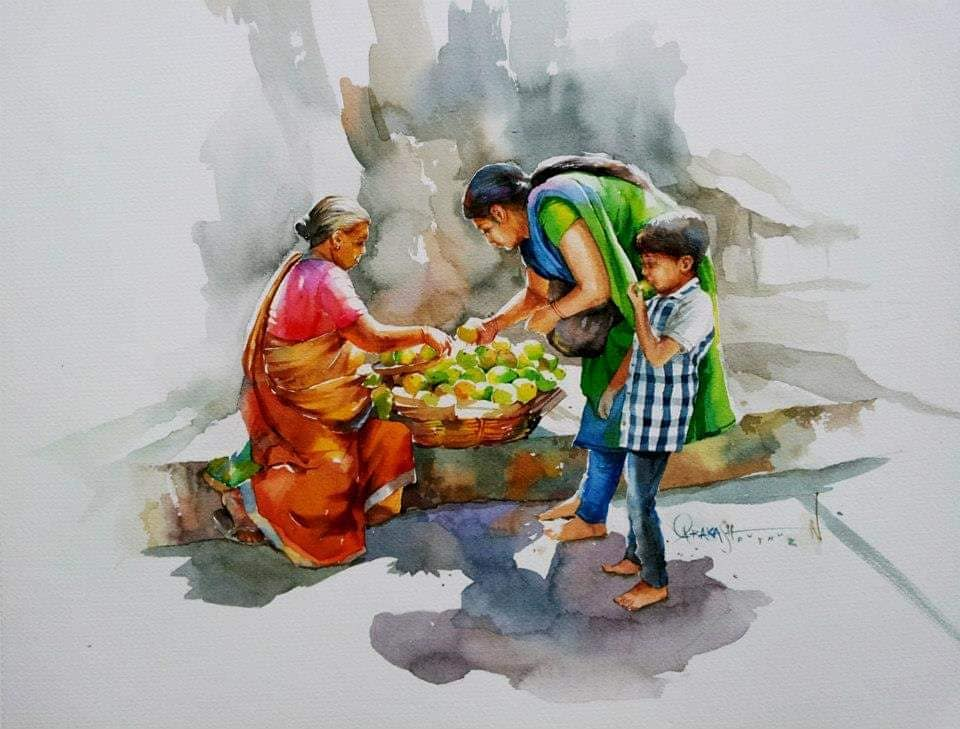 watercolor painting mangoes prakashan puthur