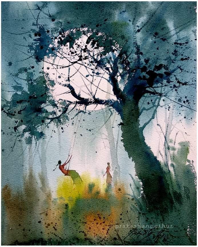 watercolor painting swing prakashan puthur