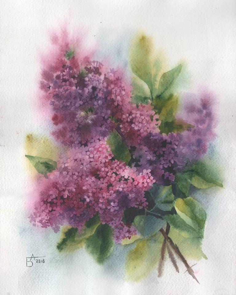 watercolor painting flowers besedina anastasia
