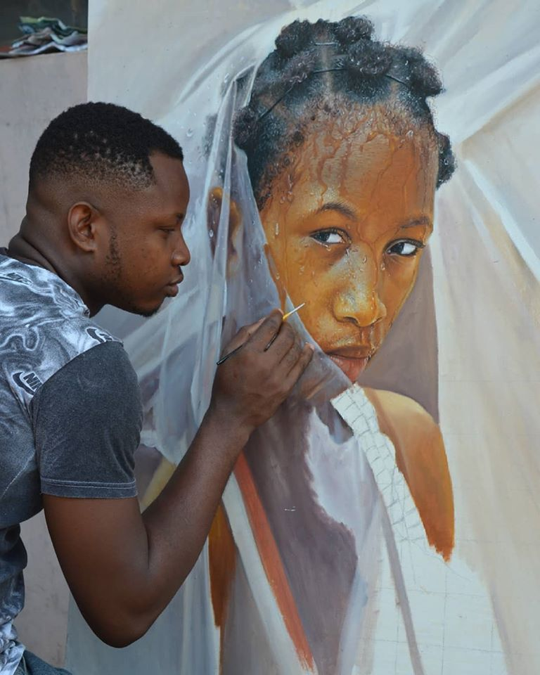 painting portrait woman collins uchenna onyibor