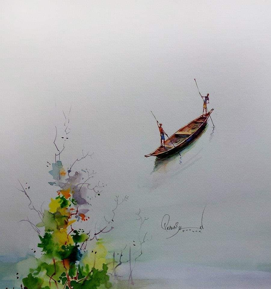 watercolor painting fishing prakashan puthur