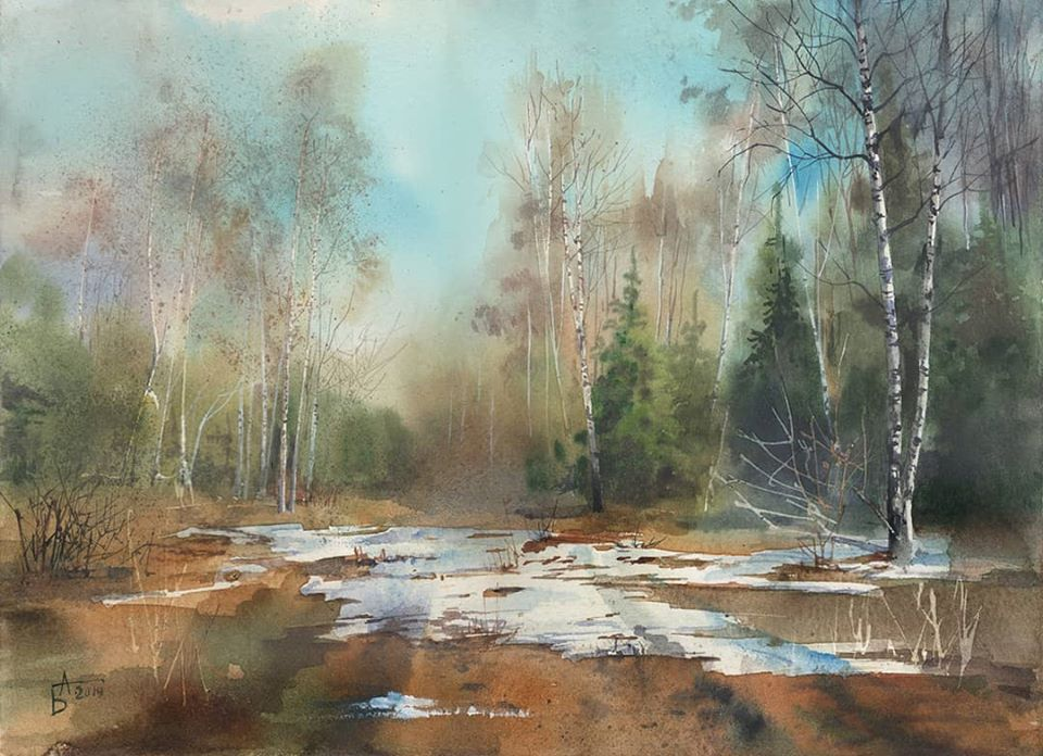19 watercolor painting nature besedina anastasia