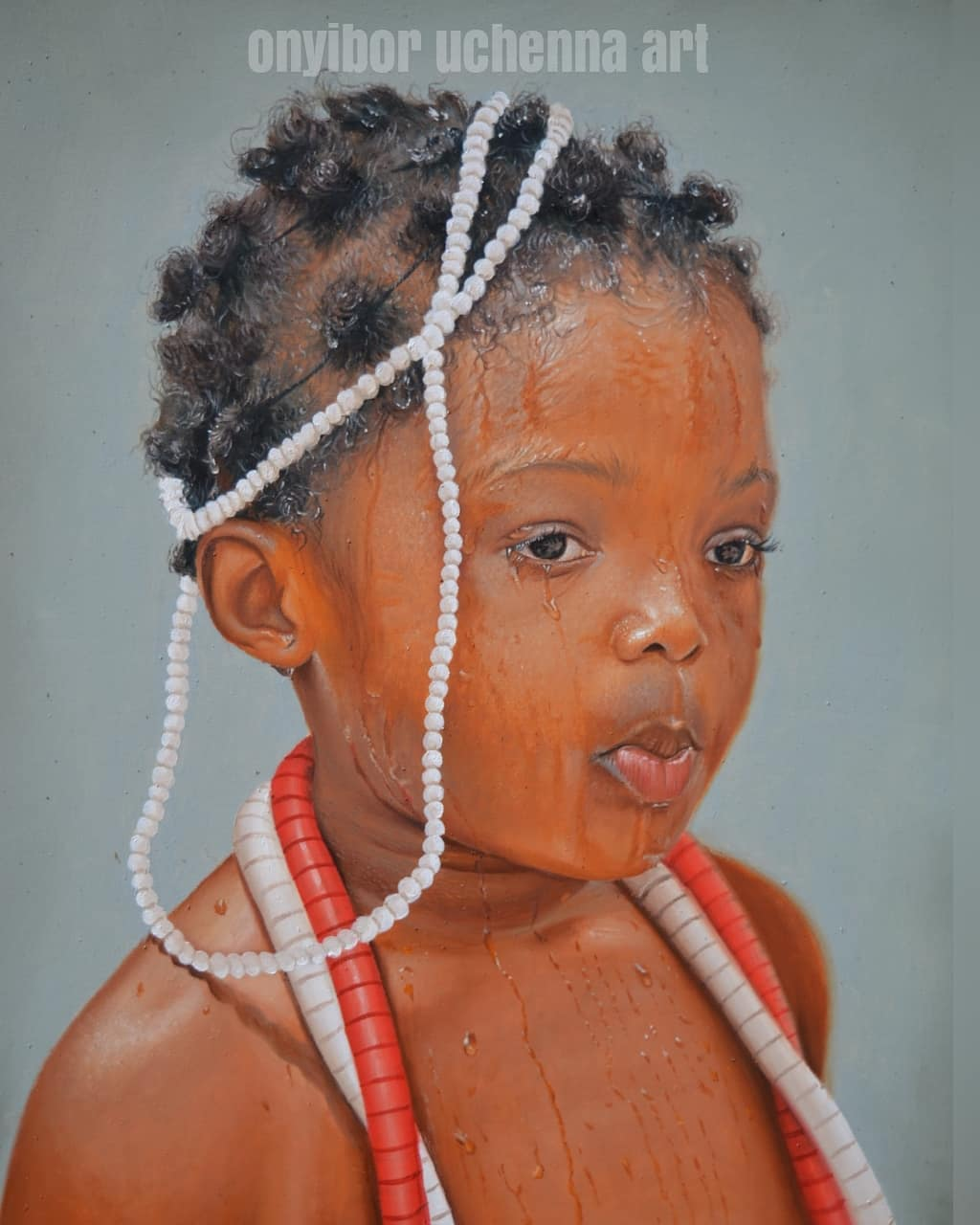 painting portrait little girl collins uchenna onyibor